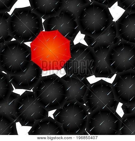 seamless of opened umbrellas on white background. Vector illustration.