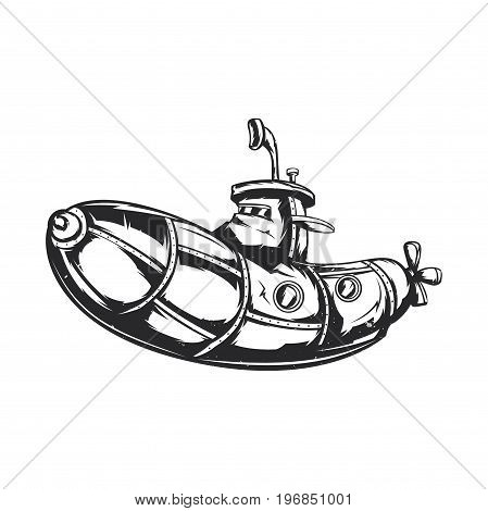 Isolated vector illustration of a funny submarine