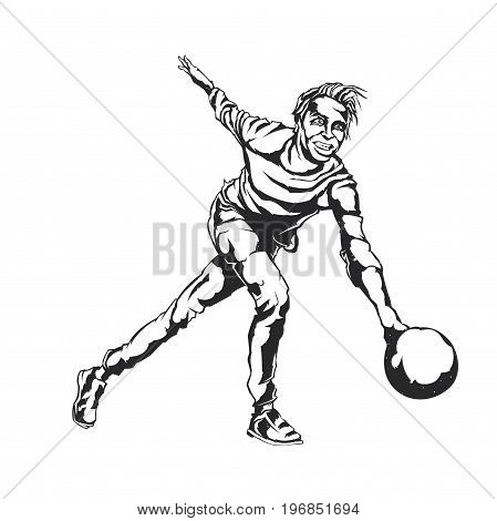 Isolated vector illustration of a bowling player