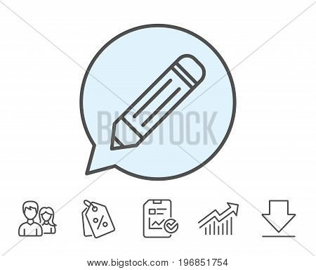 Pencil line icon. Edit sign. Drawing or Writing equipment symbol. Report, Sale Coupons and Chart line signs. Download, Group icons. Editable stroke. Vector