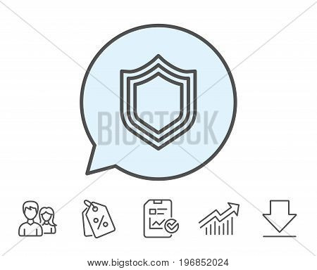Shield line icon. Protection or Security sign. Defence or Guard symbol. Report, Sale Coupons and Chart line signs. Download, Group icons. Editable stroke. Vector