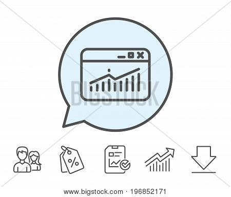 Website Traffic line icon. Report chart or Sales growth sign. Analysis and Statistics data symbol. Report, Sale Coupons and Chart line signs. Download, Group icons. Editable stroke. Vector