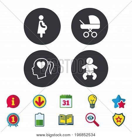 Maternity icons. Baby infant, pregnancy and buggy signs. Baby carriage pram stroller symbols. Head with heart. Calendar, Information and Download signs. Stars, Award and Book icons. Vector
