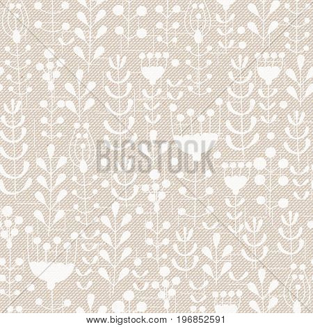 Realistic seamless cotton sailcloth texture. Abstract rough sackcloth fabric with flowers berries and leaves. Beige linen canvas texture. Vector design.