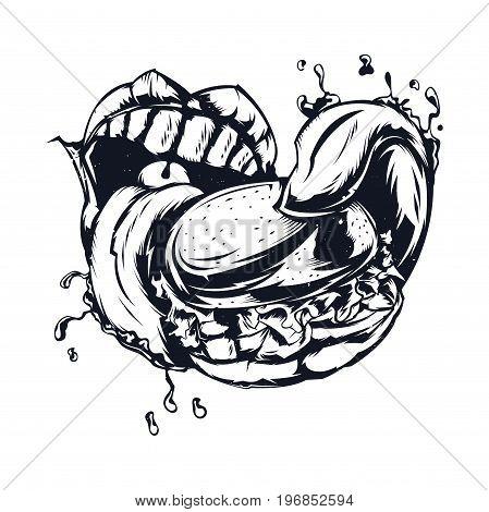 Isolated illustration of big mouth eating big burger