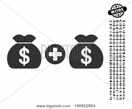 Add Money Bags icon with black bonus profession symbols. Add Money Bags vector illustration style is a flat gray iconic element for web design app user interfaces.