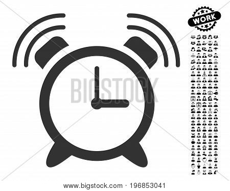 Alarm Clock Ring icon with black bonus men images. Alarm Clock Ring vector illustration style is a flat gray iconic symbol for web design, app user interfaces.