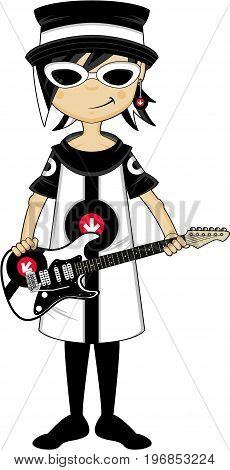 Mod Girl Holding Guitar.eps