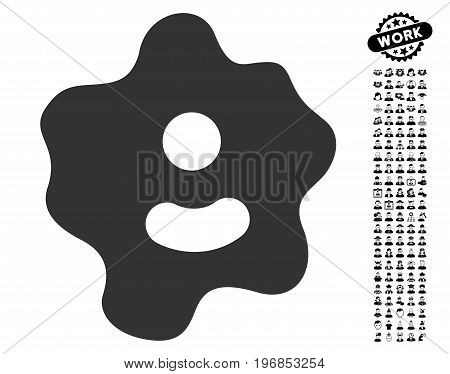 Ameba icon with black bonus people pictograms. Ameba vector illustration style is a flat gray iconic element for web design, app user interfaces.