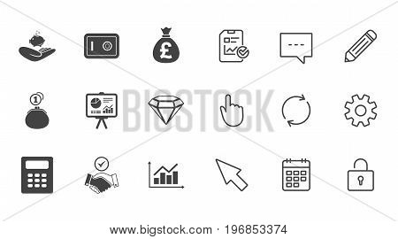 Money, cash and finance icons. Handshake, safe and calculator signs. Chart, safe and jewelry symbols. Chat, Report and Calendar line signs. Service, Pencil and Locker icons. Click, Rotation and Cursor