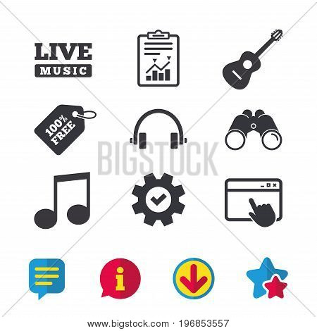 Musical elements icons. Musical note key and Live music symbols. Headphones and acoustic guitar signs. Browser window, Report and Service signs. Binoculars, Information and Download icons. Vector