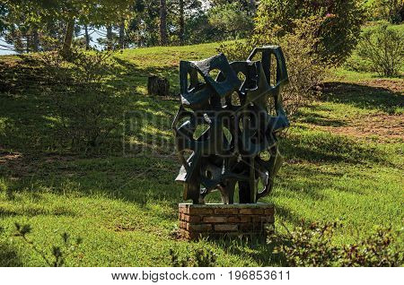 Campos do Jordão, Brazil - January 17, 2015. Sculptures part of the collection of the open-air Museum Felicia Leirner, near Campos do Jordão, a city famous for its hiking tourism. São Paulo State