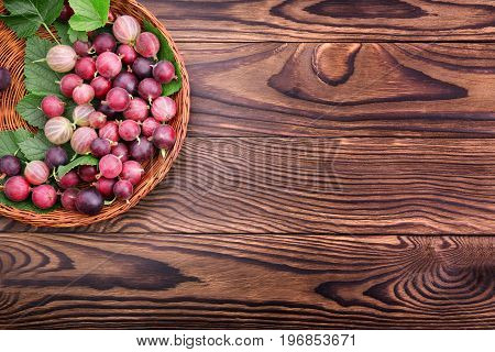 Ripe multi-colored gooseberries with green leaves on a brown wooden background. Juicy gooseberries different shades in a basket on the desk. Nutritious vitamins.