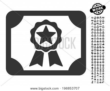 Award Diploma icon with black bonus work design elements. Award Diploma vector illustration style is a flat gray iconic element for web design, app user interfaces.
