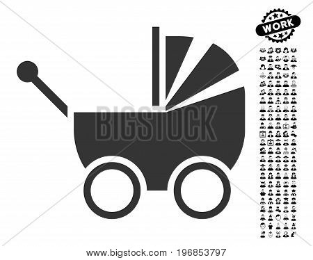 Baby Carriage icon with black bonus profession symbols. Baby Carriage vector illustration style is a flat gray iconic element for web design, app user interfaces.
