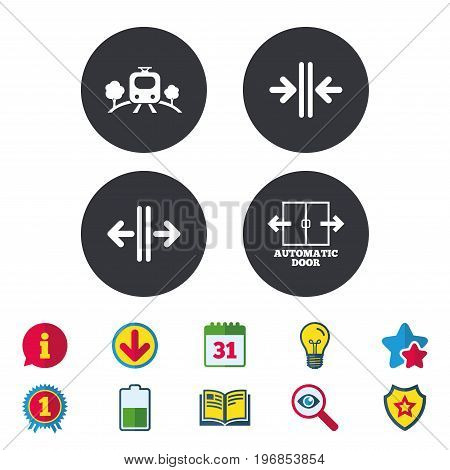 Train railway icon. Overground transport. Automatic door symbol. Way out arrow sign. Calendar, Information and Download signs. Stars, Award and Book icons. Light bulb, Shield and Search. Vector