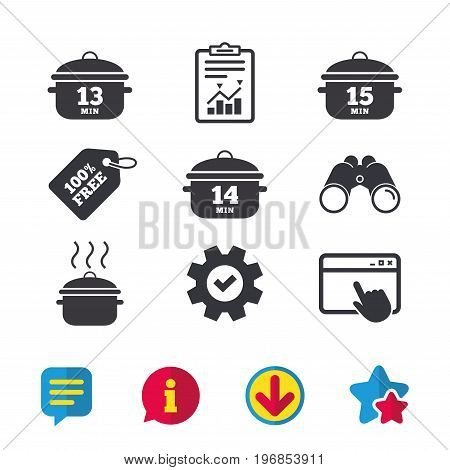 Cooking pan icons. Boil 13, 14 and 15 minutes signs. Stew food symbol. Browser window, Report and Service signs. Binoculars, Information and Download icons. Stars and Chat. Vector