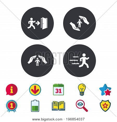 Life insurance hands protection icon. Human running symbol. Emergency exit with arrow sign. Calendar, Information and Download signs. Stars, Award and Book icons. Light bulb, Shield and Search. Vector