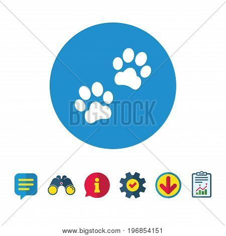 Paw sign icon. Dog pets steps symbol. Information, Report and Speech bubble signs. Binoculars, Service and Download icons. Vector