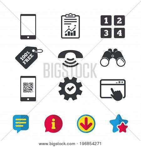Phone icons. Smartphone with Qr code sign. Call center support symbol. Cellphone keyboard symbol. Browser window, Report and Service signs. Binoculars, Information and Download icons. Stars and Chat