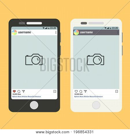 Flat vector smartphone with open social network app with post place for photo phone mockup template for image design banner web