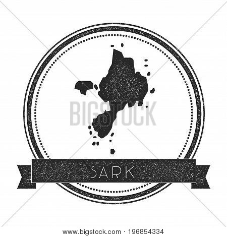 Sark Map Stamp. Retro Distressed Insignia. Hipster Round Badge With Text Banner. Island Vector Illus