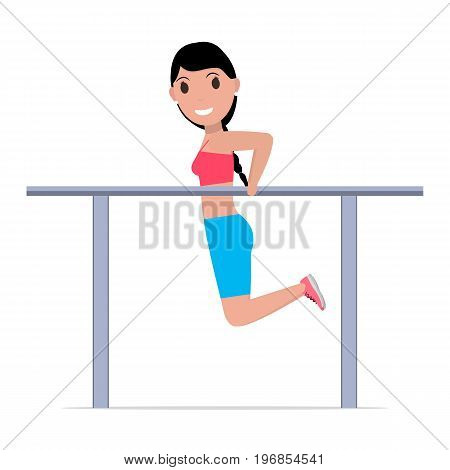 Vector illustration of a cartoon girl on gymnastics parallel bars. Isolated white background. Woman is doing exercises on gymnastics bars. Flat style.