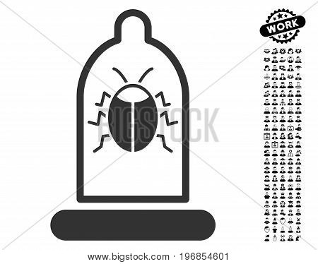 Bug Protection Condom icon with black bonus profession design elements. Bug Protection Condom vector illustration style is a flat gray iconic element for web design, app user interfaces.