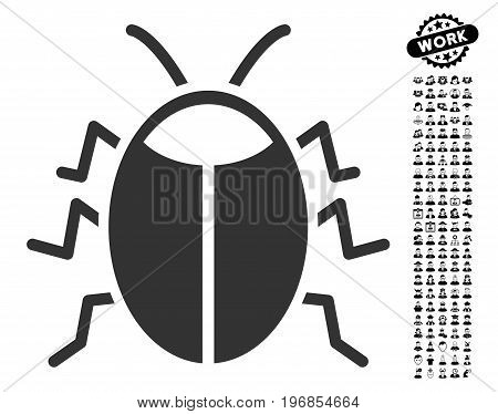Bug icon with black bonus profession images. Bug vector illustration style is a flat gray iconic element for web design, app user interfaces.