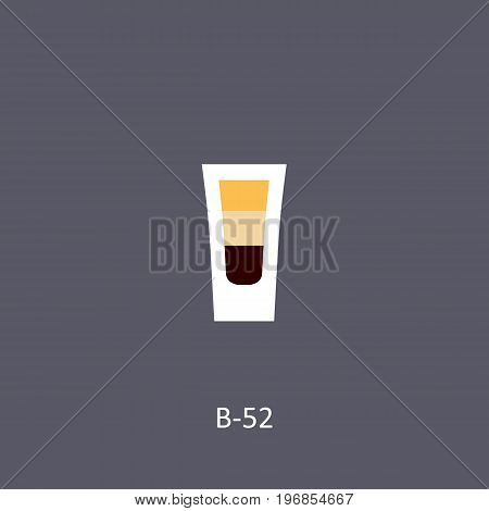 B-52 cocktail icon on dark background in flat style. Vector illustration