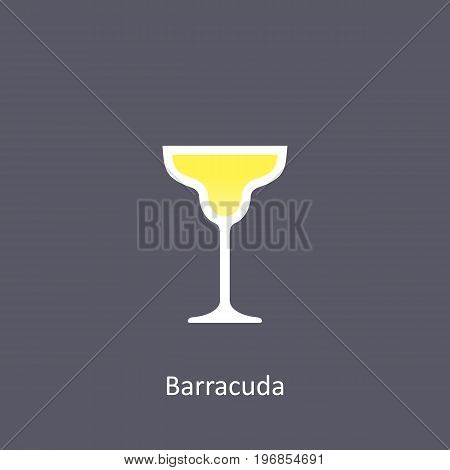 Barracuda cocktail icon on dark background in flat style. Vector illustration