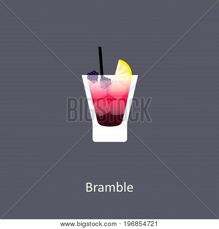 Bramble cocktail icon on dark background in flat style. Vector illustration