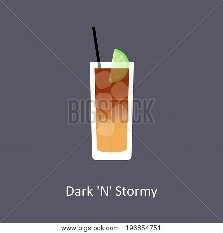 Dark 'N' Stormy cocktail icon on dark background in flat style. Vector illustration
