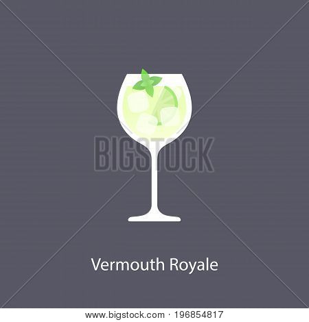 Vermouth Royale cocktail icon on dark background in flat style. Vector illustration