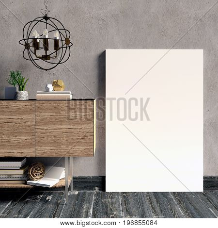 3d illustration modern interior with credenza poster and lamp. poster mock up