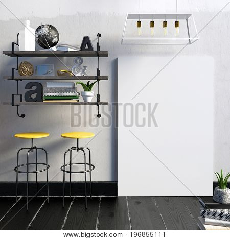 Modern light interior in loft style consisting of shelves with knick-knacks and Souvenirs a pair of stools with bright yellow seats the lights and the poster in the background of a concrete wall. poster mock up. 3D illustration