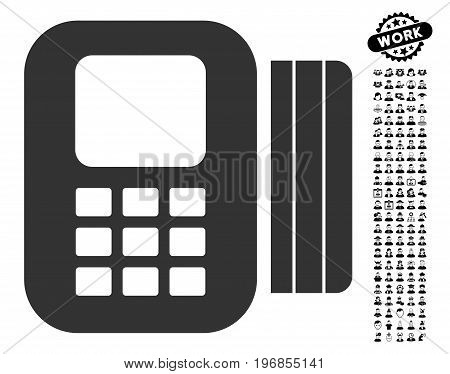 Card Processor icon with black bonus men pictograms. Card Processor vector illustration style is a flat gray iconic element for web design, app user interfaces.
