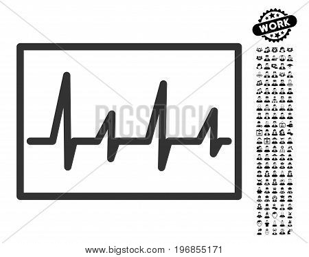 Cardiogram icon with black bonus profession symbols. Cardiogram vector illustration style is a flat gray iconic symbol for web design, app user interfaces.