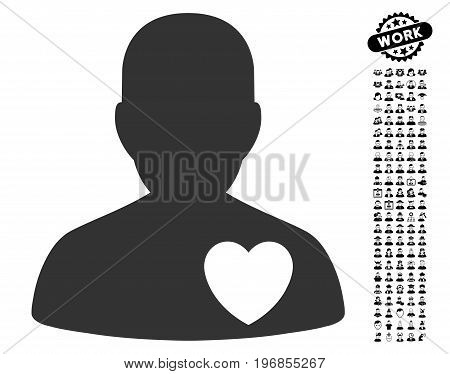 Cardiology Patient icon with black bonus men pictures. Cardiology Patient vector illustration style is a flat gray iconic symbol for web design, app user interfaces.
