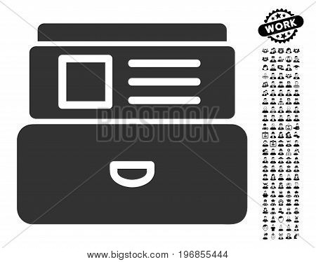 Catalog icon with black bonus men clip art. Catalog vector illustration style is a flat gray iconic element for web design, app user interfaces.