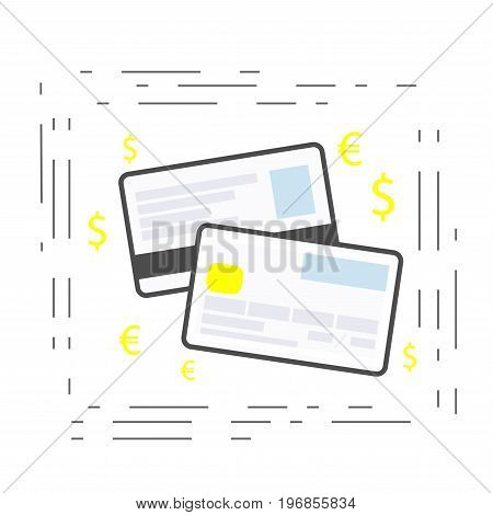 Credit or debit card linear modern icon. payment method. Vector
