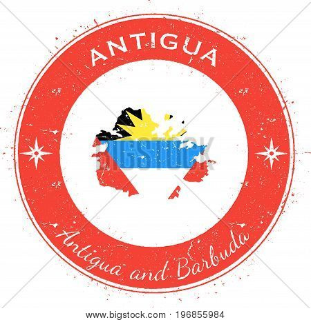 Antigua Circular Patriotic Badge. Grunge Rubber Stamp With Island Flag, Map And Name Written Along C