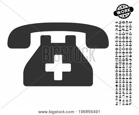 Clinic Phone icon with black bonus job pictures. Clinic Phone vector illustration style is a flat gray iconic symbol for web design, app user interfaces.