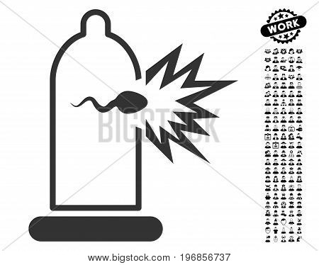 Condom Sperm Escape icon with black bonus work design elements. Condom Sperm Escape vector illustration style is a flat gray iconic element for web design, app user interfaces.