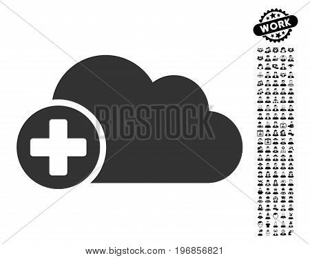 Create Cloud icon with black bonus professional images. Create Cloud vector illustration style is a flat gray iconic element for web design, app user interfaces.