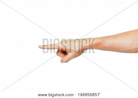 Closeup of male hand pointing. veins on hand Isolated on white background