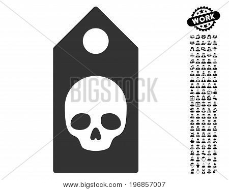 Death Coupon icon with black bonus work pictograms. Death Coupon vector illustration style is a flat gray iconic element for web design, app user interfaces.