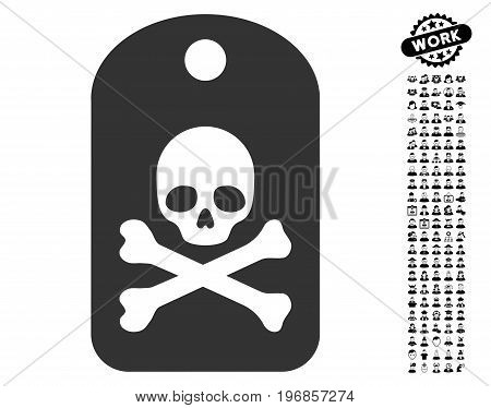 Death Sticker icon with black bonus job clip art. Death Sticker vector illustration style is a flat gray iconic element for web design, app user interfaces.
