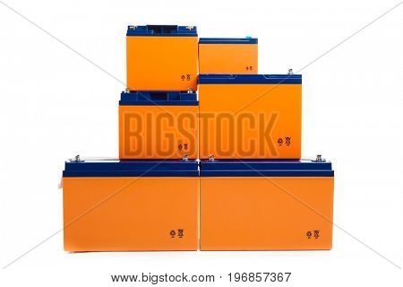 industrial lead acid batteries group, isolated on white