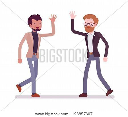 Businessmen in casual wear greeting with hands. Workers pleased to meet, friendly and respectful gesture. Formal manners concept. Vector flat style cartoon illustration, isolated, white background
